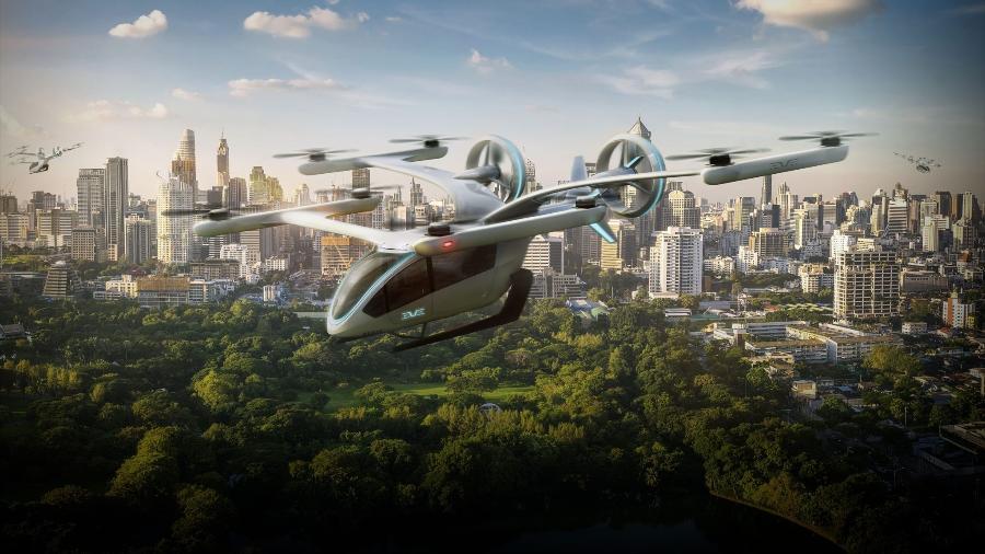 Modelo de aeronave elétrica de decolagem e pouso vertical, conhecida como eVTOL - Divulgação/Eve Air Mobility