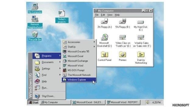 O Windows 95 vendeu o número recorde de 7 milhões de cópias nas cinco primeiras semanas. Foi o lançamento mais divulgado da Microsoft até hoje. Foi a era do fax e dos modems, do correio eletrônico, do novo mundo online, jogos multimídia e softwares educativos