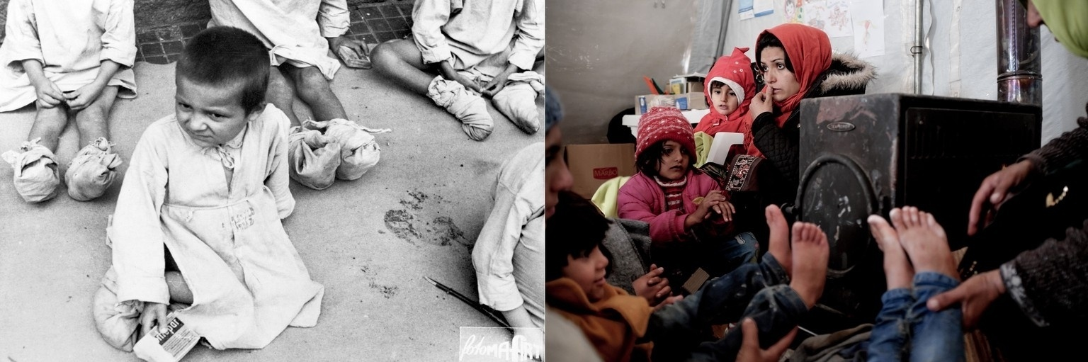 Bastante exaustas, crianças na Hungria se sentam em 1945 do lado de fora de um hospital que distribui suprimentos e roupas. No ano de 2015, uma mulher aquece crianças em um espaço suportado pela Unicef na Sérvia