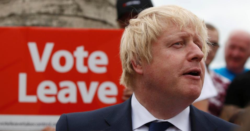22.jun.2016 - O ex-prefeito de Londres Boris Johnson faz comício pela saída do Reino Unido da União Europeia, em Selby