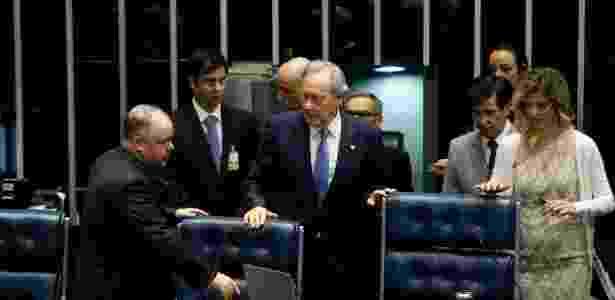 O presidente do STF, Ricardo Lewandowski, durante a sessão do Senado que tornou ré a presidente afastada, Ddilma Rousseff - Pedro Ladeira/Folhapress