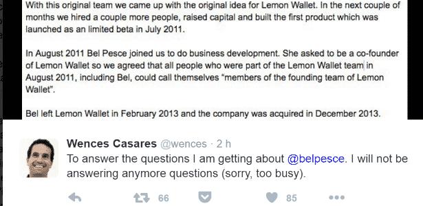 """Wences Casares muda versão sobre Bel Pesce e diz que, apesar de chegar depois à Lemon, pode ser chamada """"membro da equipe de fundadores"""", por um acordo feito - Reprodução/Twitter - Reprodução/Twitter"""