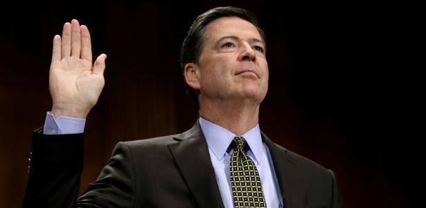 O diretor do FBI, James Comey, presta depoimento no Senado americano, em Washington