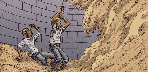 Quando a massa de grãos está desnivelada nos silos, deslocamentos podem soterrar trabalhadores em poucos segundos