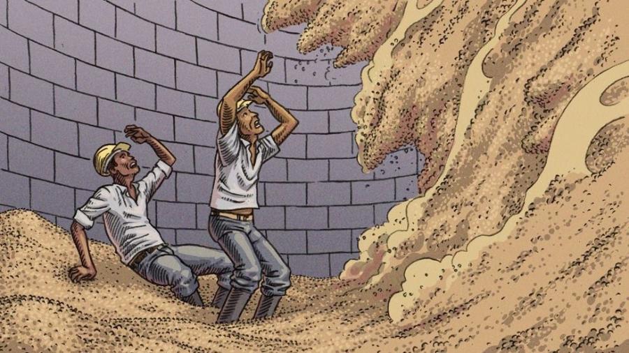 Quando a massa de grãos está desnivelada nos silos, deslocamentos podem soterrar trabalhadores em poucos segundos - Vitor Flyn/BBC News Brasil
