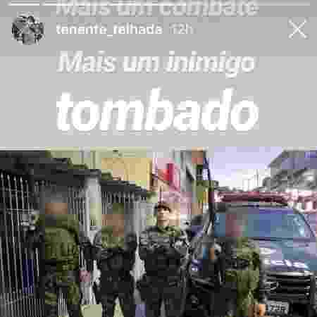 """Agora capitão, Telhada comemorou """"mais um inimigo tombado"""" após matar suspeito - 02.mar.2019 - Reprodução/Instagram"""