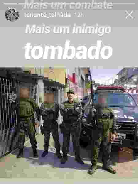 """Tenente Telhada comemora """"mais um inimigo tombado"""" após matar suspeito - 02.mar.2019 - Reprodução/Instagram - 02.mar.2019 - Reprodução/Instagram"""