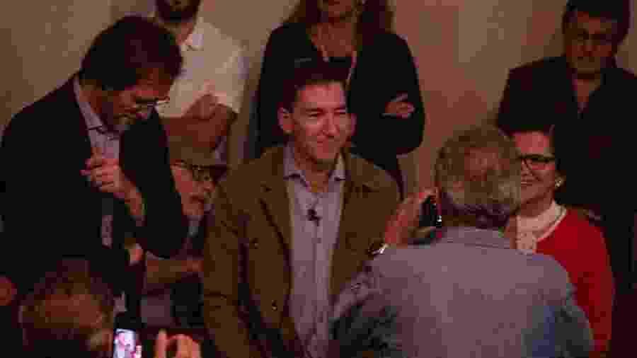 30.jul.2019 - Ato de apoio ao jornalista Glenn Greenwald na ABI (Associação Brasileira de Imprensa), no centro do Rio - LUCAS REZENDE/FUTURA PRESS/FUTURA PRESS/ESTADÃO CONTEÚDO