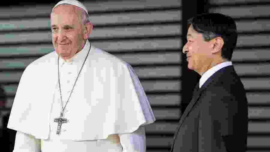 O papa Francisco se encontrou com o imperador Naruhito durante passagem pelo Japão - Behrouz MEHRI / AFP