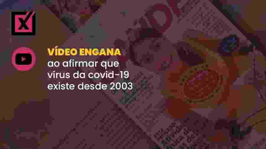 """Vídeo mostra reportagem da revista """"Saúde É Vital"""" de 2003, que trata do vírus que causou o surto da Sars há 17 anos ? e não do Sars-Cov-2 - Arte/Comprova"""