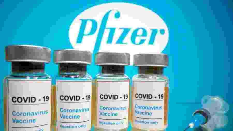 Ampolas da vacina da Pfizer contra a covid-19 - Divulgação