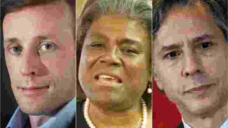 Jake Sullivan, Linda Thomas-Greenfield e Antony Blinken figuram entre nomes da equipe de Biden. - Getty Images/Reuters - Getty Images/Reuters