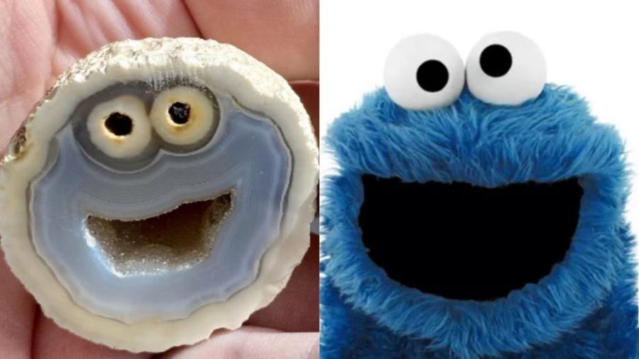 """Um geólogo encontrou uma rocha em Soledade, no Rio Grande Sul, cujo formato lembra o rosto do personagem Come-Come (ou Cookie Monster) de """"Vila Sésamo"""" - Reprodução/Twitter/Facebook"""