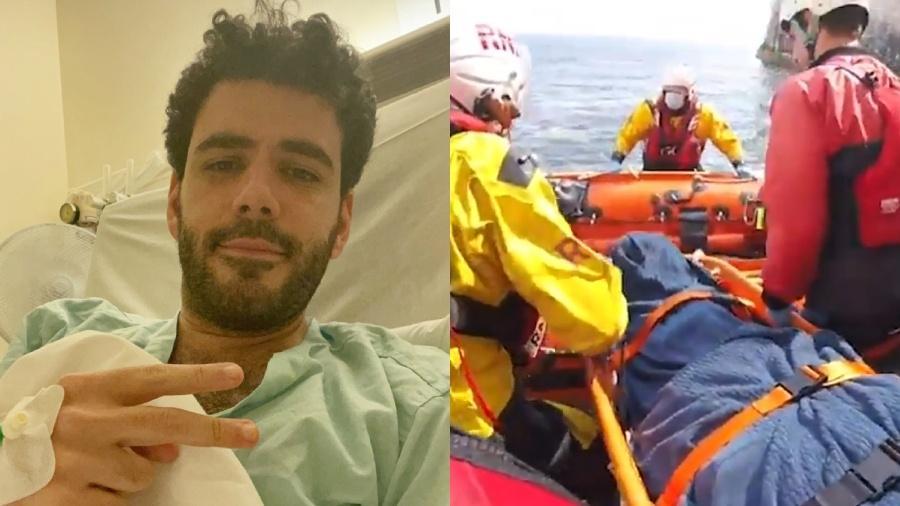 Alex Tridico foi resgtado após cair no mar de uma latura de 35 metros - Reprodução/The Sun/Montagem UOL