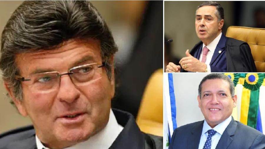 Luiz Fux, presidente do STF, permitiu a bagunça na distribuição dos processos; Barroso e Nunes Marques fazem interferência indevida no Legsilativo - Rosinei Coutinho/SCO/STF/Agência Brasil; Nelson Jr/SCO/STF;