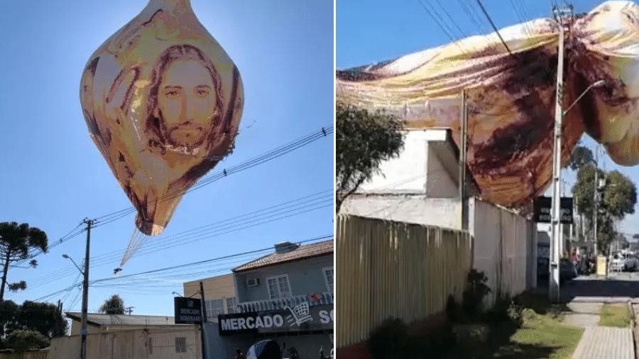 Balão gigante assustou moradores do Boqueirão, em Curitiba, após provocar incêndio em um mercado - Reprodução/Redes sociais