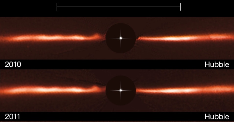 7.out.2015 - Imagens captadas por telescópios da Nasa (Agência Espacial Norte-Americana) e do ESO (European Southern Observatory) revelam estruturas nunca antes observadas em um disco de poeira que rodeia a estrela AU Miscroscopii. Ao todo são cinco arcos, que lembram pequenas ondas que se propagam em uma poça d?água e movem-se rapidamente, em uma velocidade de cerca de 40 mil km/h