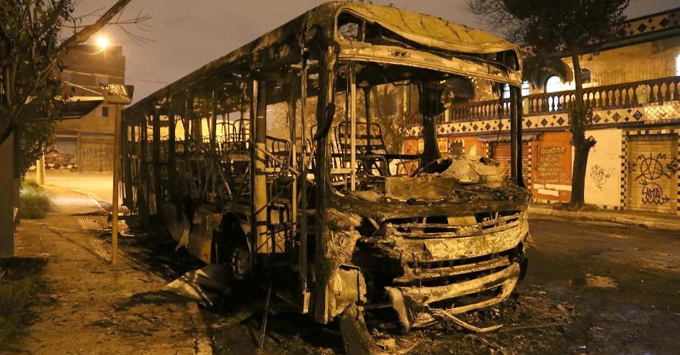 9.jan.2016 - Um ônibus foi incendiado na noite desta sexta-feira (8) no Jardim Danfer, zona leste de São Paulo. O veículo estava parado no ponto final e não havia passageiros no momento da ação. Segundo a PM, um grupo invadiu o ônibus, ateou fogo e fugiu. Ninguém ficou ferido. O caso foi registrado no 24° DP