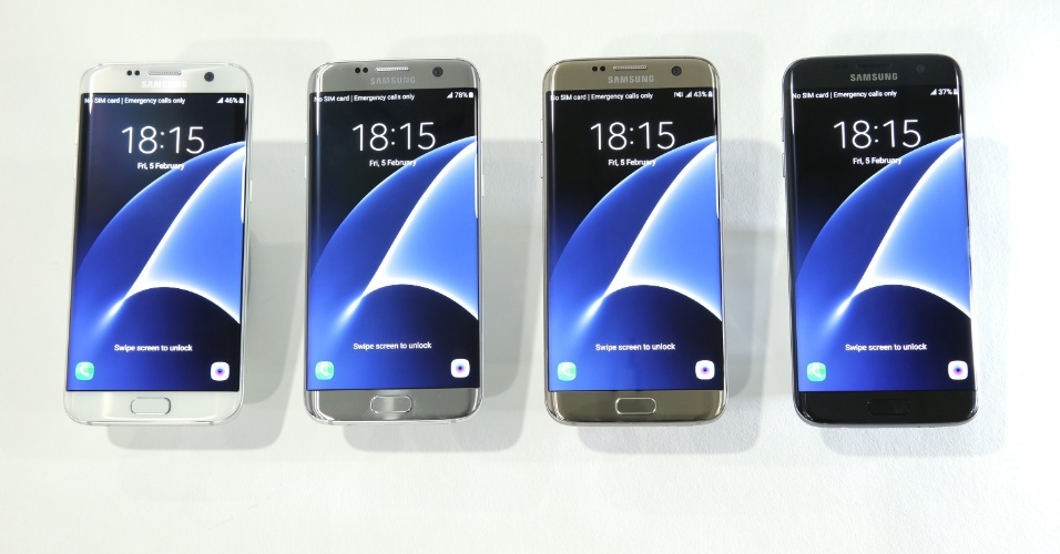 21.fev.2016 - A Samsung lançou neste domingo (21) o Galaxy S7 edge, smartphone to de linha com 5,5 polegadas e tela curvada.  Ele e o Galaxy S7, também lançado no mesmo dia, são os primeiros a ter uma câmera Dual Pixel, que, aliada a maior abertura do sensor (F 1.7), passa a ser 56% mais sensível à luz do que a do S6. Mas, apesar da inovação, o sensor reduziu de 16MP para 12MP. Já a câmera frontal manteve os 5MP. Uma novidade exclusiva para o S7 edge é a possibilidade de se criar atalhos personalizados na lateral curva. Passa a ser permitido até duas colunas de apps, não mais uma como no modelo anterior