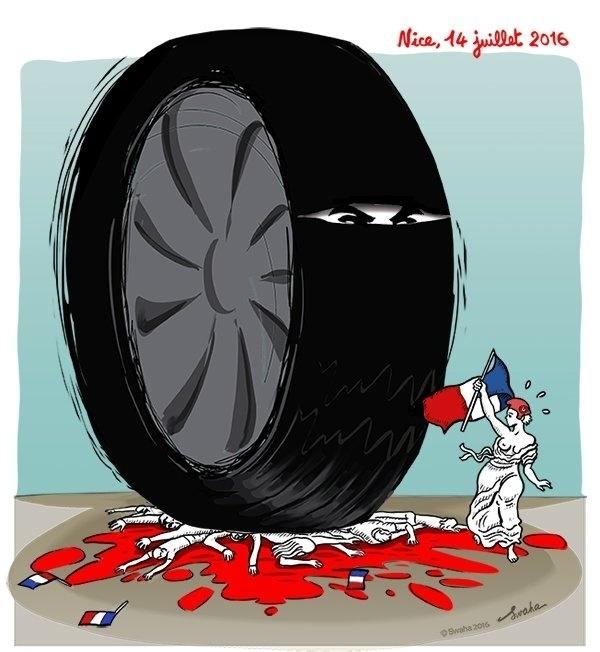 15.jul.2016 - O símbolo francês foge de uma roda, representação dos atropelamentos perpetuados por terrorista em Nice