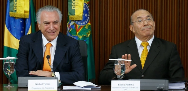 Ministro Eliseu Padilha (Casa Civil), ao lado do presidente Michel Temer