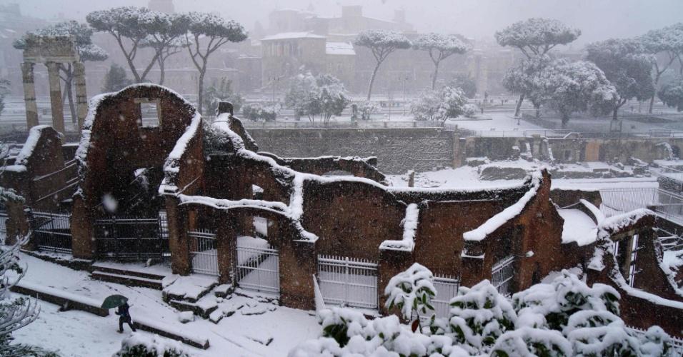 26.fev.2018 - Região de Via dei Fiori, em Roma, durante nevasca