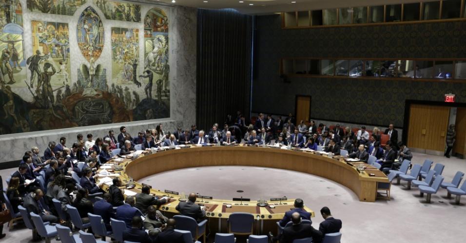 14.abr.2018 - Conselho de Segurança da ONU realiza reunião de emergência na manhã deste sábado (14) após ataque aéreo contra a Síria feito por EUA, Reino Unido e França