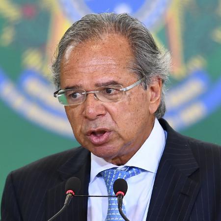 Paulo Guedes, ministro da Economia, durante cerimônia de posse dos presidentes dos bancos públicos - Evaristo Sá/AFP