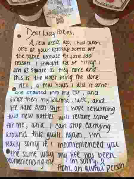 Ladrão arrependido deixou duas embalagens de ketchup e uma carta anônima em restaurante em Nova Jersey - Facebook