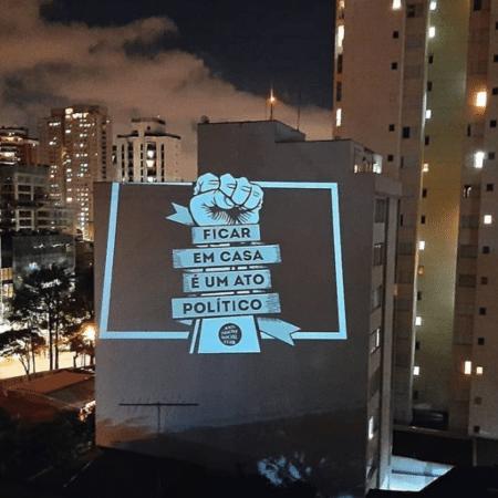 Projeção política fachada de prédio - Reprodução Instagram