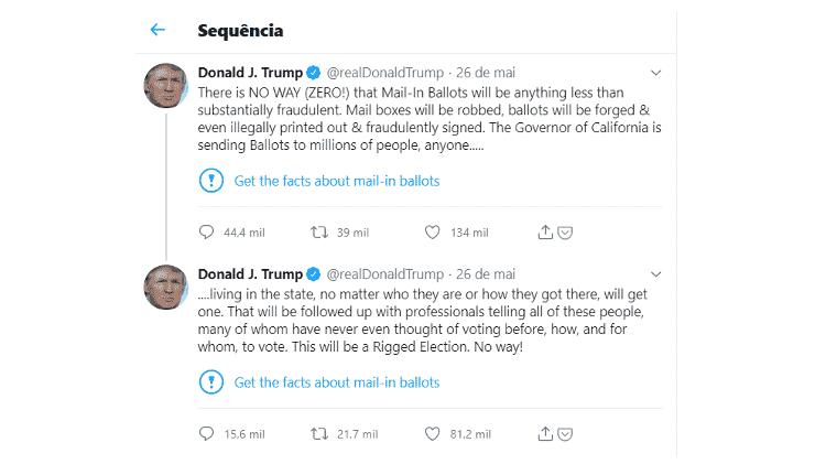 Twitter marca tuítes de Donald Trump com aviso sobre conteúdo enganoso - Reprodução