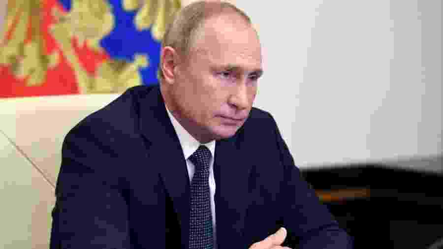 Vladimir Putin conversou com Macron, presidente da França, hoje sobre a investigação - ALEXEY NIKOLSKY/AFP