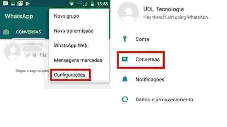 WhatsApp - fazer backup parte 1 - Reprodução - Reprodução
