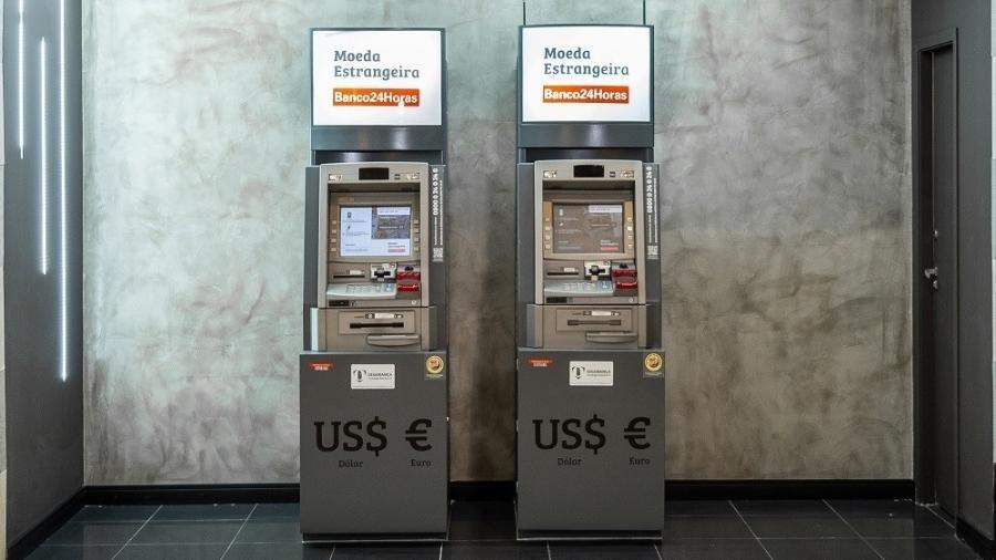Caixa eletrônico usado para saque em dólar e euro no Banco 24 Horas - Divulgação