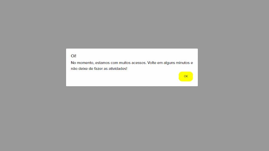 Site da Atividade Paraná, que substitui a Prova Paraná, aparece com mensagem alertando sobre lotação - Reprodução