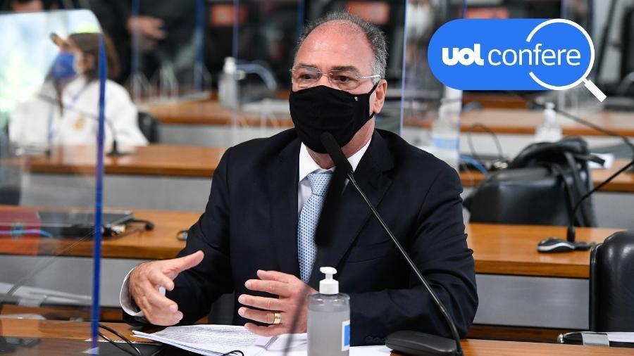 25.jun.2021 - O senador Fernando Bezerra Coelho (MDB-PE) durante a CPI da Covid - Jefferson Rudy/Agência Senado