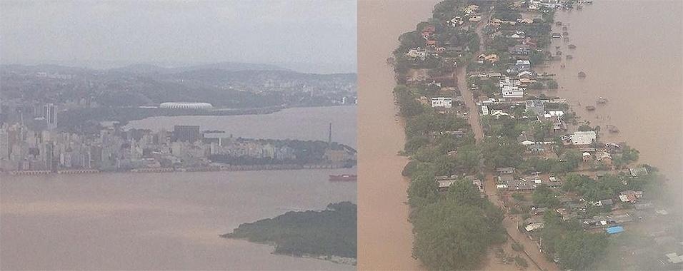 17.out.2015 - Imagens aéreas mostram a cheia no rio Guaíba, na região metropolitana de Porto Alegre (RS) que está 2,9 metros acima do nível por causa das chuvas que atingem o Estado