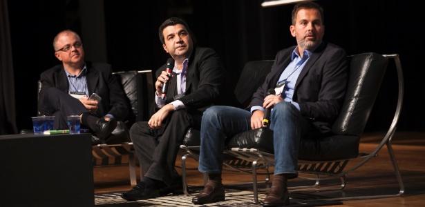 Os investidores-anjo Cassio Spina (à esq.), João Kepler e Eduardo Smith