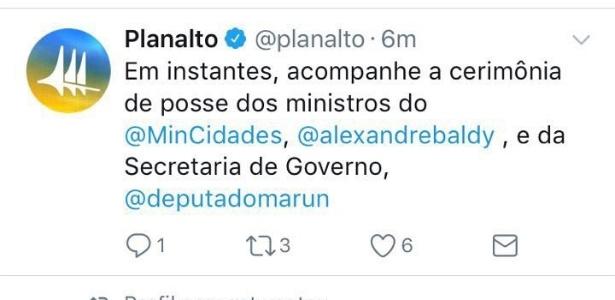 Twitter do Planalto confirmou posse de Marun na Segov - Reprodução