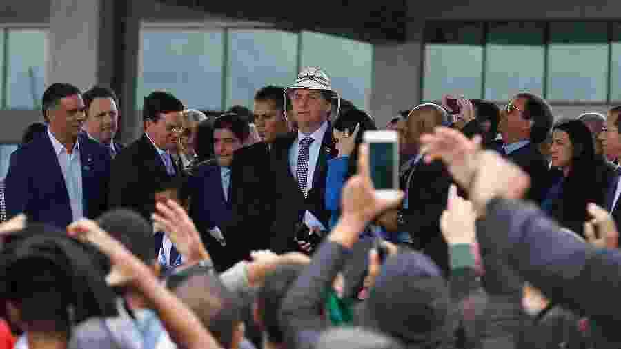 O presidente Jair Bolsonaro durante cerimônia de inauguração do Aeroporto Glauber Rocha, em Vitória da Conquista (BA) - Eliezer Oliveira/Futura Press/Estadão Conteúdo