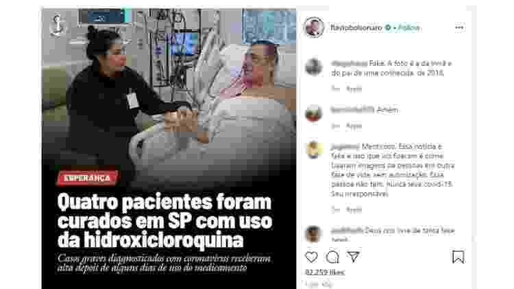 """Flávio Bolsonaro posta foto fake para defender """"cura"""" de coronavírus com hidroxicloroquina - Reprodução - Reprodução"""