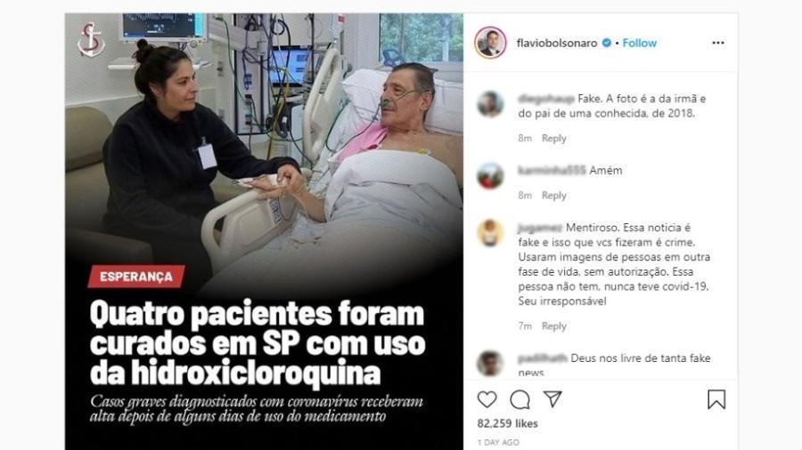 """Flávio Bolsonaro posta foto fake para defender """"cura"""" de coronavírus com hidroxicloroquina - Reprodução"""