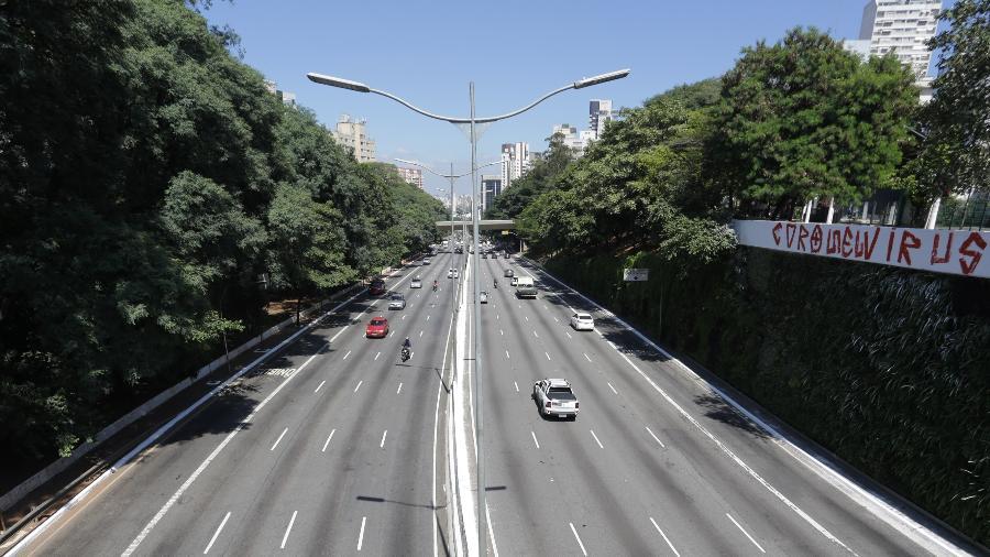 Céu em São Paulo durante o período de isolamento para evitar o coronavírus - Fabio Vieira/FotoRua/NurPhoto via Getty Images