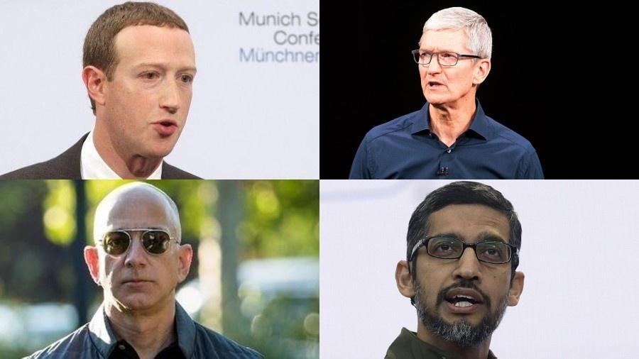 Mark Zuckerberg, Jeff Bezos, Sundar Pichai e Tim Cook, CEOs do Facebook, Amazon, Google e Apple - Montagem: Johannes Simon/Getty Images, Noah Berger/AFP, The Verge e Jeff Chiu/AP
