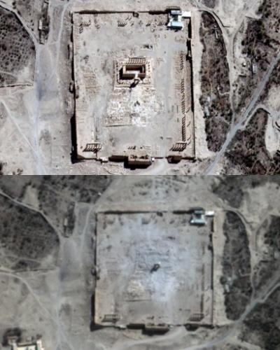 1º.set.2015 - Imagens de satélite confirmaram a destruição do Templo de Bel, um dos edifícios mais preservados da Era Romana na cidade síria de Palmira, informou uma agência da ONU, após ativistas dizerem que o grupo extremista Estado Islâmico tinha atingido o local. Na imagem acima, ainda é possível ver o templo