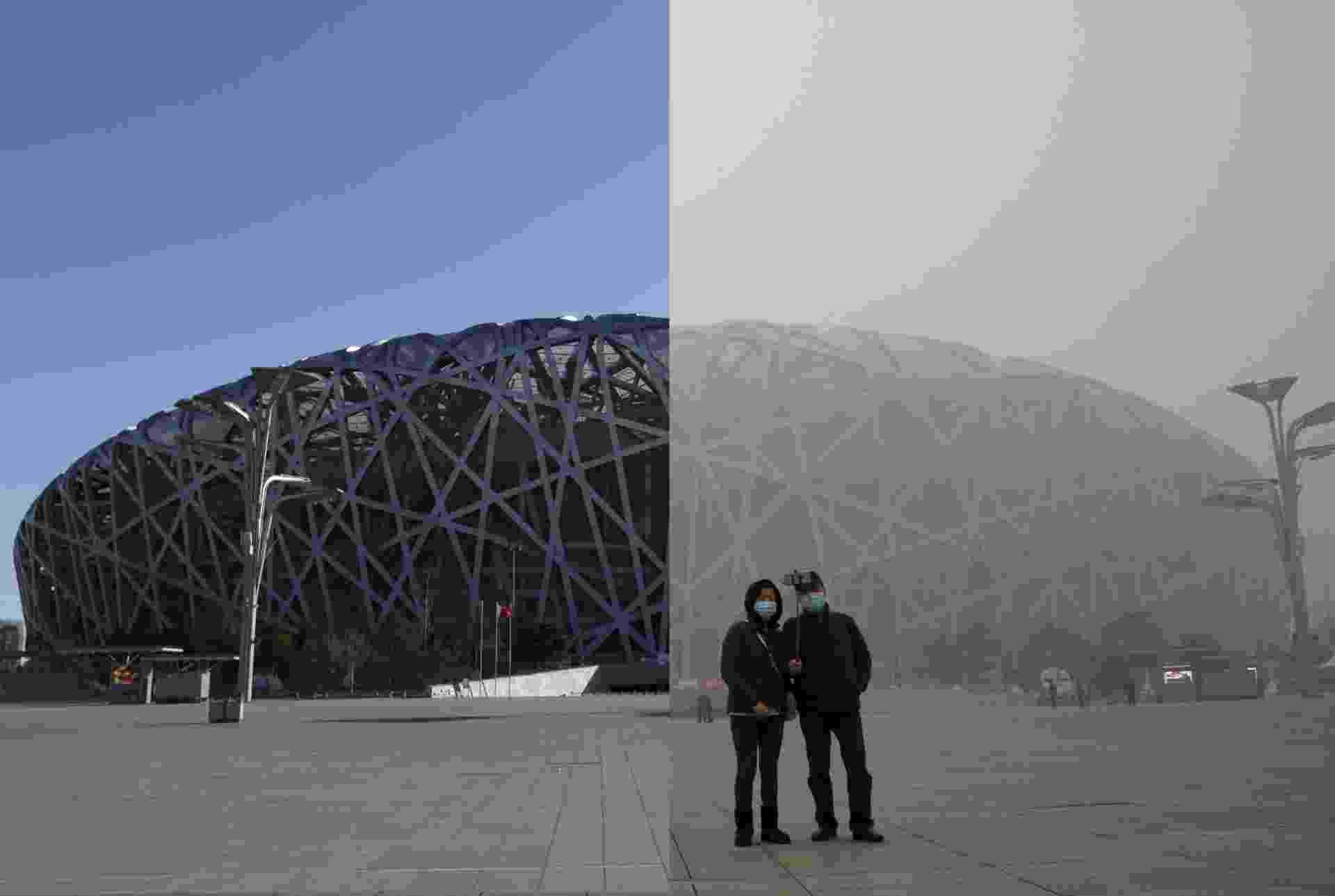 Fotos do Ninho do Pássaro, estádio nacional chinês, representam bem o que a poluição causa na paisagem de Pequim. Em 2 de dezembro, a arena paira imponente na cidade. Já em 1 de dezembro, com a poluição, ela fica castigada, assim como o ambiente - Kim Kyung-Hoon/Reuters