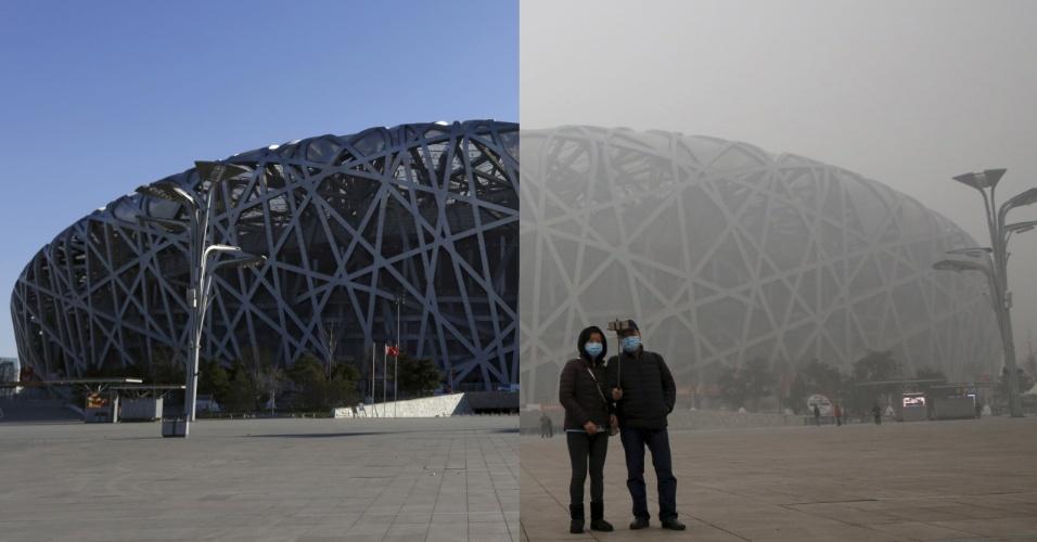 Fotos do Ninho do Pássaro, estádio nacional chinês, representam bem o que a poluição causa na paisagem de Pequim. Em 2 de dezembro, a arena paira imponente na cidade. Já em 1 de dezembro, com a poluição, ela fica castigada, assim como o ambiente