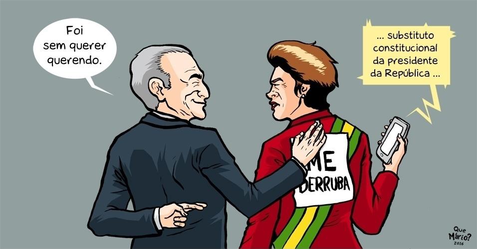 13.abr.2016 - Após o suposto vazamento de um discurso feito pelo vice-presidente Michel Temer (PMDB) em que ele fala como se o impeachment da presidente Dilma Rousseff  já tivesse sido aprovado ficou difícil manter as amizades
