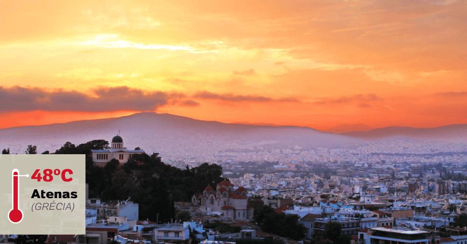 1º.jul.2016 - ATENAS (GRÉCIA), 48°C: O clima de Atenas é tipicamente mediterrâneo: invernos amenos, verões intensos. Nessa estação as temperaturas chegam aos 40°C. Tanto que foi em 10 de julho de 1977, que a cidade grega registrou a temperatura mais alta já medida na Europa:  48°C. Há quem diga que na onda de calor que atingiu a Europa em 2003, a temperatura de algumas cidades espanholas chegaram à marca, mas não há registros oficiais