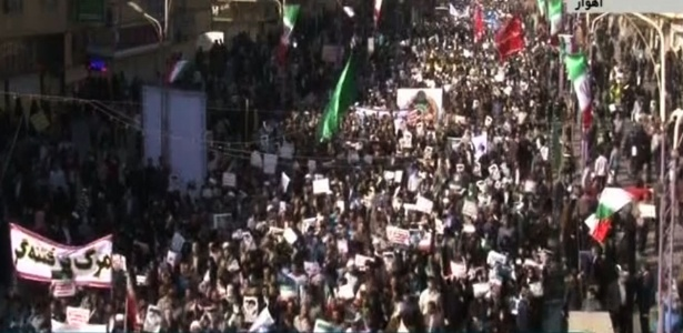Televisão pública do Irã mostrou grandes manifestações pró-governo